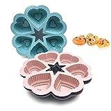 Moldes de silicona en forma de corazón, 3 unidades, con 6 compartimentos en forma de corazón para magdalenas, bombones, pasteles, galletas (color aleatorio)