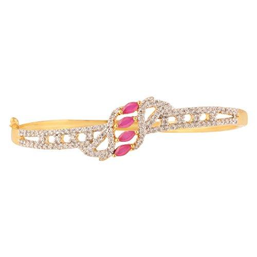 swasti joyas Zircon circonitas cúbicas chapado en oro Abrir pulsera Kada para las mujeres