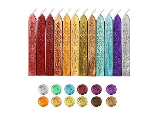 Siegellack Sticks,12er Pack Antike Dichtungs Wachs Stick Farbige Kerze Siegelwachs Siegellack-Sticks mit Dochten Versiegelung Sticks für Wachs Siegel Stempel Buchstaben BriefmarkenBuchstaben