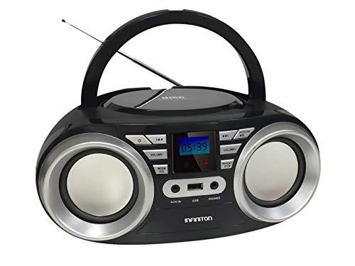 Radio CD INFINITON Boombox (Lector de CD Mp3 WMA, USB. Radio FM, AUX, Display LED) (SIN Bluetooth, Negro)