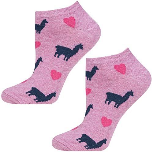 soxo Damen oder Mädchen Sneaker Socken | 11 Lustige Verschiedene Motive | Füsslinge Söckchen für Frauen | Grössen 35-40 (Rosa Lama)