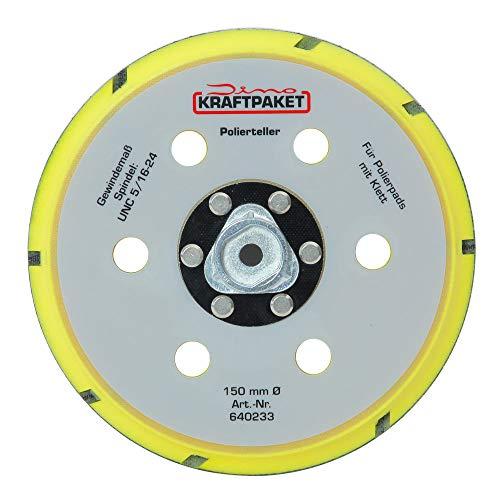 Dino KRAFTPAKET 640233 150mm-Stützteller-M8 mit Klett Polierteller für Exzenter Poliermaschine 950W-21/15mm, 900W-21/15/9mm Hub, Gelb