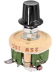 Sourcingmap–a16031800ux202625W 10Ohm pomo Alambre Herida de cerámica potenciómetro Ajustable reóstato Resistencia