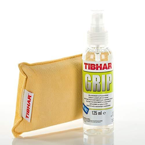 Tibhar Juego de limpieza de tenis de mesa | Limpiador de revestimiento Grip con esponja combinada | Set de cuidado de revestimientos | Spray de revestimiento | Pumpspray | 125 ml