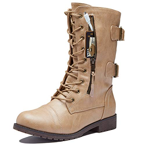 DailyShoes Tomb Raider Costume for Women Women's Combat Boots Ankle Mid Calf Zip Pocket Buckles Bootie Side Closed Toeie Casual Knee High Exclusive Credit Card Beige,pu,6.5