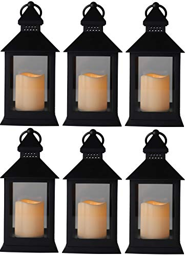 10' Vintage Rustic Decorative Electric Candle Lantern Lamp With LED Candle Light for Indoor and Outdoor Decor, Battery Powered Candles Great for Wedding Centerpieces, Garden and Home (6, Style 6)
