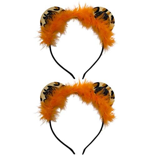 Minkissy 2 Pièces En Peluche Tigre Bandeau Animal Oreille Bandeau Furry Zoo Animaux Bandeaux Tigre Cosplay Cheveux Hoop Jungle Thème de Fête D' anniversaire Faveur