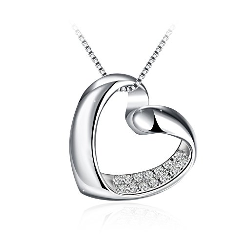 "J.Rosée Necklaces, Heart Necklace 925 Sterling Silver 3A Cubic Zirconia Pendant Necklace, 18""+2"" Externder Chain, Jewelry Gifts for Women Girls"