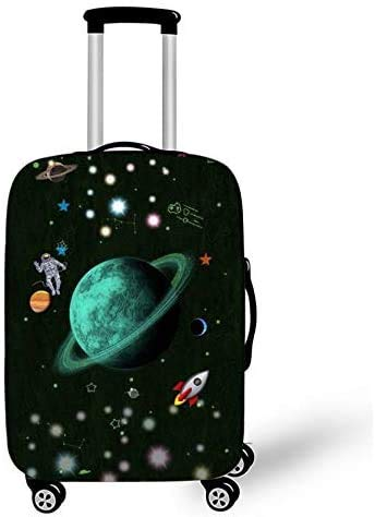 Suitcase Cover Protector Suitcase Cover Child Trolley Case Luggage Storage Covers Size M Travel Planet Art Design Trolley Case Cover 22-25Inch