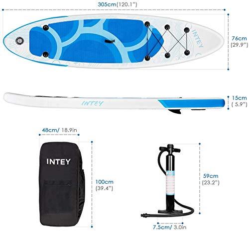 INTEY Tavola da SUP 305×76×15cm SUP Gonfiabile, capacità di Carico di 200 kg, Stand Up Paddle Board, ISUP Tavola da Surf con Pompa ad Aria, Pagaia Regolabile, Linea di Sicurezza