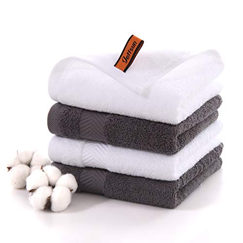 Hotel amp Spa Quality Washcloths Set 4Pack 138 x 138 Inch 100% Ring Spun Cotton Premium Large Bathroom Face Cloths Ultra Soft and Highly Absorbent Fingertip Towels 2 White2 Gray