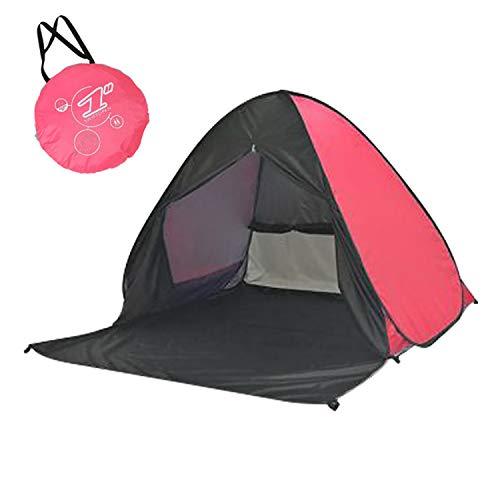 URBEST Pop Up Tent, Beach Tent Sun Shelter Instant Sun Shade Portable UV Tent Baby Sun Cabana with Zipper Door for Garden/Beach Times (Black and Pink)