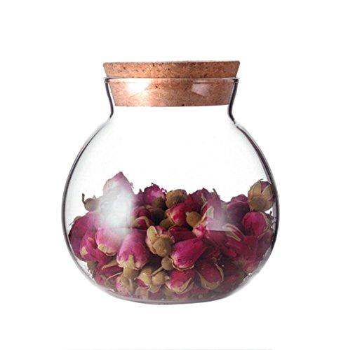 Tarro redondo de vidrio transparente para guardar alimentos con tapa de corcho, 500 ml