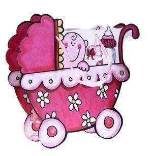 Lote de 12 Bolsas de Papel de Regalo & Presentación Cochecito Bebé ROSA - Bolsas para presentar regalos, detalles y recuerdos Baby Shower, Bautizos, Fiestas Cumpleaños 1 año, Bebés