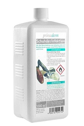 Primaderm Schuhdesinfektion aldehydfrei, Desinfektionsmittel gegen Pilze, Bakterien und Viren in Schuhen, 1x 1L Eurospenderflasche Nachfüllpack