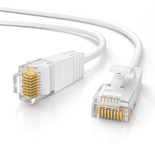 Jadaol Cat 6 Ethernet Cable 50 ft White, Slim Long Internet Network LAN Patch Cords, Cat6 High Speed Computer Wire with Clips & Rj45 Connectors for Router, Modem, Faster Than Cat5e/Cat5, 50 feet