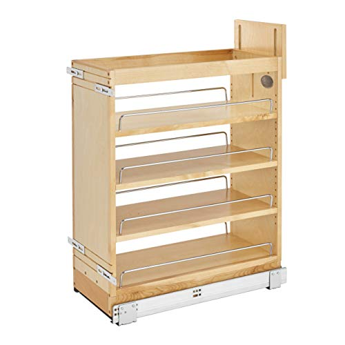 Rev-A-Shelf 448-BCSC-9C 9 Inch Pullout Soft Close Kitchen Cabinet Storage Organizer Wood Construction with Extra Durability