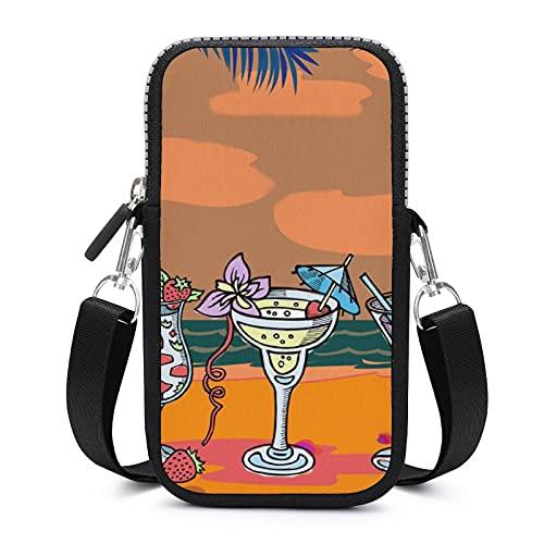 Bolso bandolera para teléfono móvil con correa de hombro extraíble para cócteles de playa, resistente al desgaste, funda para brazalete de dinero, bolsa para gimnasio, fitness y mujeres
