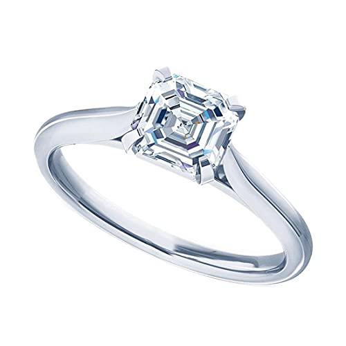 Anillo de compromiso solitario de diamante simulado CZ de talla princesa de 1 quilate para ella en plata de ley 925 chapada en oro (tamaño del anillo 64)