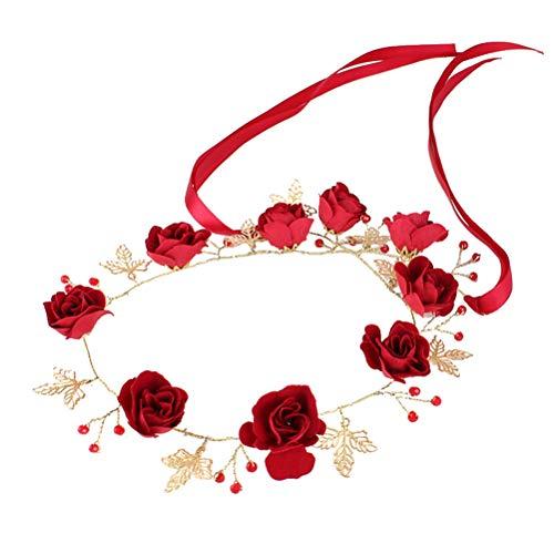 Lurrose Diadema Flores Rojas de la boda peluca nupcial con perlas broche de pelo banda de pelo para mujeres niñas