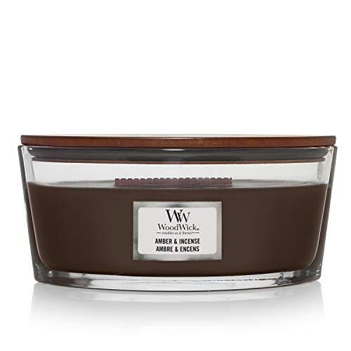 Woodwick Ellipse Candela Profumata Con Stoppino Scoppiettante, Ambra E Incenso, Fino A 50 Ore, Marrone (Amber & Incense)
