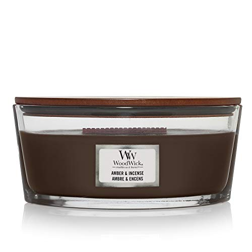 Woodwick Ellipse Candela Profumata Con Stoppino Scoppiettante, Ambra E Incenso, Fino A 50 Ore, Marrone (Amber & Incense)