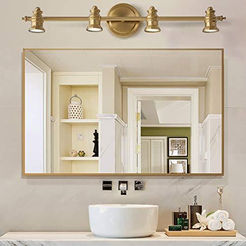 Lámparas de espejo LED vintage Apliques giratorios creativos Luz clásica de espejo de latón Lámpara de espejo nórdico para baño con focos LED IP 44 18cm de la pared, 4- cabeza