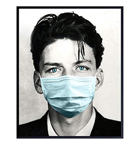 Frank Sinatra Poster Wearing Face Covering Buff Mask - Coronavirus Covid 19 Pandemic Social Distancing Room Decor - Wall Art Home Decoration Photo Picture - Funny Gift for Women, Men