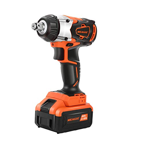 Meagle 20V Max Brushless Cordless Impact Wrench 4.0 Ah Battery Powered - 3 Speed Variable Trigger -...