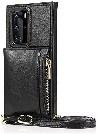 SLDiann Case for Huawei P40, Zipper Wallet Case with Credit Card Holder/Crossbody Long Lanyard, Shockproof Leather TPU Case Cover for Huawei P40 (Color : Black)
