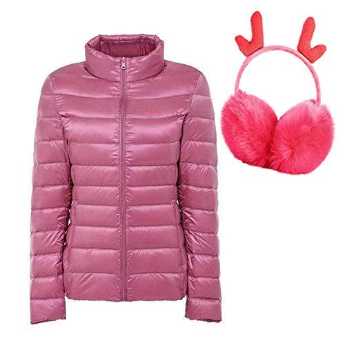 Down Jacket Women's Jacket 99% White Duck Down,Fast- Drying Warm Light-Weight Breathable Lightweight Water Resistant Winter Coat Outdoor+Random Ear Warmer(S-7XL Pink-L