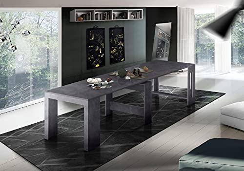 Dmora Tavolo da Pranzo Moderno, Made in Italy, Consolle allungabile 12 posti, con portallunghe, cm 51x90h77 (Fino a 300 cm), Colore Grigio Ardesia