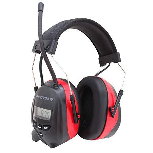 Protear Gehörschutz mit Bluetooth und Radio FM/AM, eingebaute wiederaufladbare Lithiumbatterie und Mikrofon, Gehörschutz für Werkstatt, Garten/Mähen, Traktoren, CE-zertifiziertes SNR 30dB