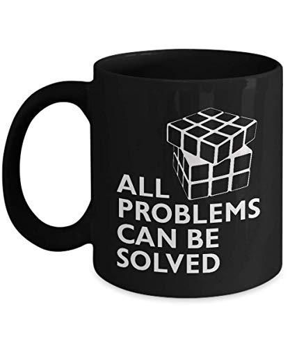 N\A Divertida Taza de café Negro con Cubo de Rubik, Todos los Problemas se Pueden Resolver, Regalo de Sarcasmo Inspirador único para el Jugador de Rubik, Hombres, Mujeres