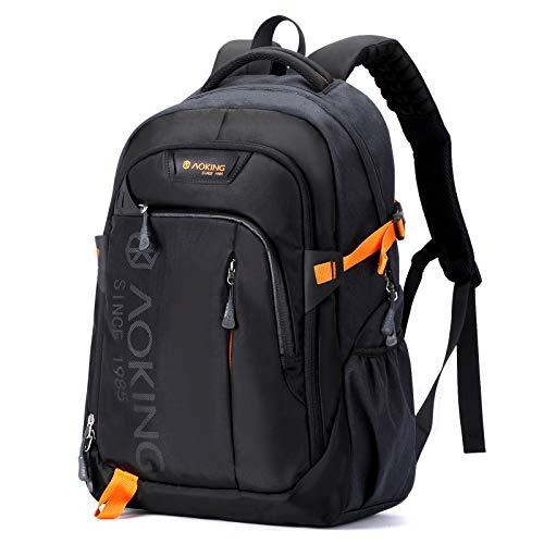 AOKING Mochila escolar impermeable para hombre, 15,6 pulgadas, para senderismo, viajes, camping Negro Talla única