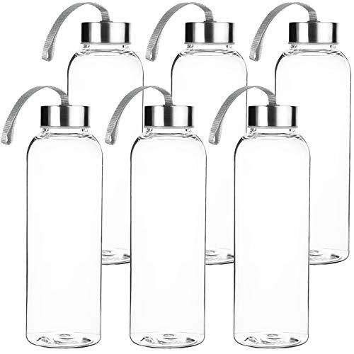 Trinkflasche 6-teilig Set aus Glas 600ml Wasserflasche mit Edelstahldeckel und Trageschlaufe - Ideal für Getränke wie Smoothies, Wasser, Säfte , Tee, Milch usw. - Luftdicht / tropfsicher   H: 24,3cm