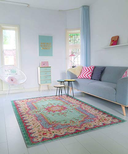 Rozenkelim Vintage Teppich | Shabby Chic Look Teppichläufer für Wohnzimmer, Schlafzimmer und Flur | 70% Polypropylen, 30% Baumwolle (Pastell, 180cm x 120cm, 8 mm hoch)