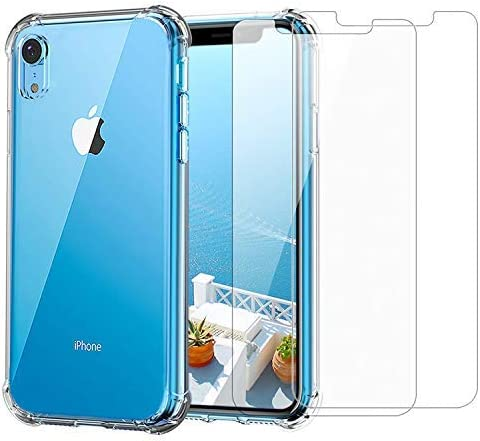 iPhone XR Clear Case & Screen Protector | 2 in 1 Bundle Package | 2 Tempered Glass Screen Protectors | Crystal Clear ...