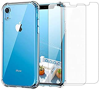 iPhone XR Clear Case & Screen Protector   2 in 1 Bundle Package   2 Tempered Glass Screen Protectors   Crystal Clear Transparent Soft Case   Shockproof Bumpers   Slim Fit   Compatible with iPhone XR