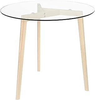 LIUBIAONET Tables à Manger Table de Salle à Manger Transparent 80 cm Verre trempé