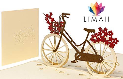 LIMAH® Pop Up 3D Blumen-Fahrrad-Karte, Glückwunschkarte, Geschenkkarte, Überraschungskarte Mit Einem Damenrad Und Roten Blumen Gut Kombinierbar Mit Einem Gutschein Zum Geburtstag
