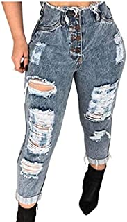 KEEPWO Women's Skinny Fit Button Ripped Jeans Stretch High Waisted Denim Pants Jeggings with Pockets