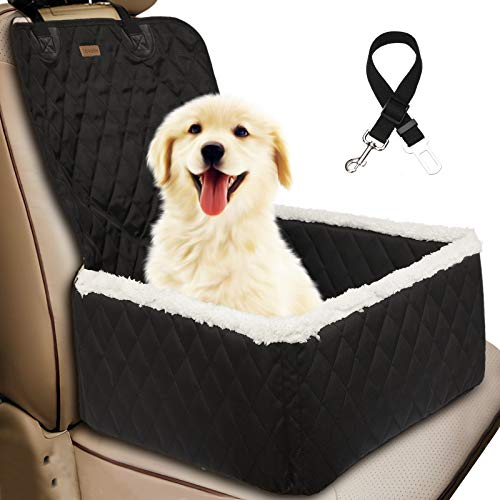 TOPBRY Car Front Seat Covers for Dogs, Deluxe 2 in 1 Scratchproof Thickened Foldable Car Protector Kennel with Safety Belt, 900D, for Cars Trucks SUVs