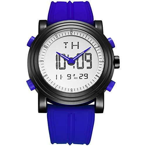 BUREIメンズファッションアスリート防水腕時計LEDアナログデジタル多機能メンズカジュアル電子腕時計ラバーブルーストラップ(ブラック-青い)
