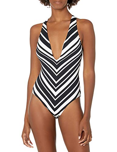 La Blanca Women's Plunge Mio One Piece Swimsuit, Black/White//Archistripe, 0