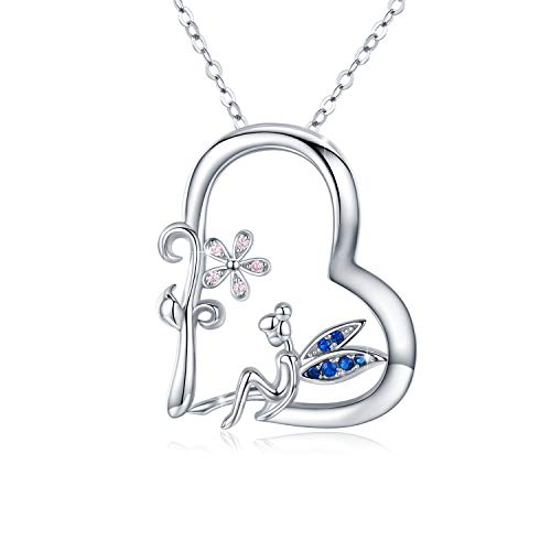 Fairy necklace 925 Sterling Silver Cubic Zirconia Heart Folwer Fairy Pendant Necklace Fairy Gifts for Women Girls Kids