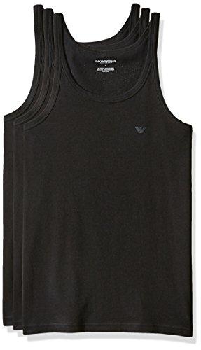 Emporio Armani Herren 3-Pack Tank Top Regular Fit Unterhemd, schwarz, Groß (3er Pack)