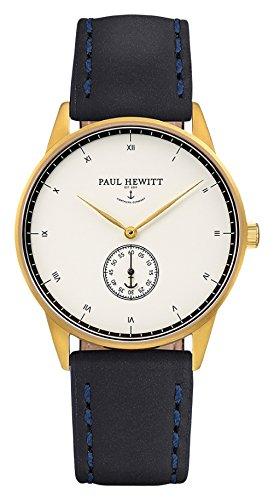 Paul Hewitt Unisex Analog Quarz Uhr mit Leder Armband PH-M1-G-W-11M
