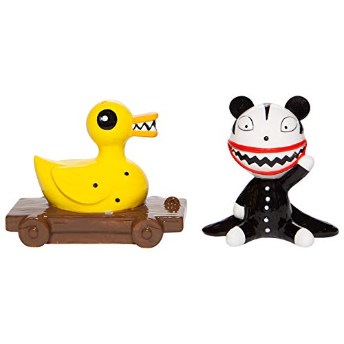 Enesco Disney Ceramics the Nightmare Before Christmas Scary Teddy and Killer Duck Salt and Pepper Shaker Set, 3 Inch, Multicolor