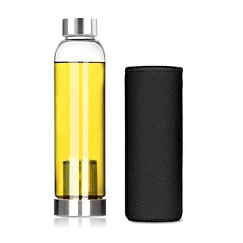 Botella de agua de cristal, botella de agua de 550 ml, funcional juego de té, para interiores, exteriores, oficina, fitness y deportes.